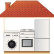House with appliances - gas stove, washing machine and refrigerator — Stock Vector