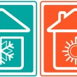 House with snowflake and sun. home conditioner symbol - Stock Vector
