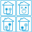 Conditioner in home with sun, snowflake and house - Stock Vector