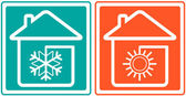 House with snowflake and sun. home conditioner symbol — Stock Vector