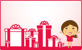 Cartoon girl and holiday gift — Stock Vector