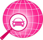 Icon with planet, magnifier and car — Stock Vector