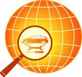 Araba anahtarı ve büyüteç gezegende içinde tornavida — Stok Vektör