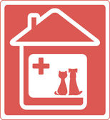 Home veterinary symbol with pet — Stock Vector