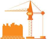 Construction crane and city landscape — Stock Vector