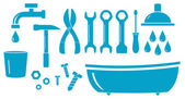 Geïsoleerde objecten voor sanitair werk — Stockvector