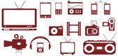 Geïsoleerde objecten - satelliet, audio, videodossiers technische apparatuur — Stockvector