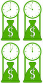 Money bag with clock — Vector de stock