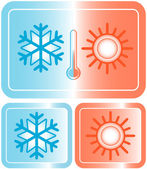 Button with snowflake, sun and thermometer — Stock Vector