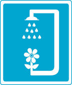 Shower sign with flower and drop of water — ストックベクタ