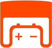 Batería de coche en lugar de texto y marco — Vector de stock