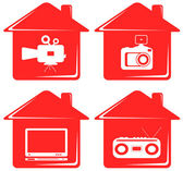 Video and audio isolated objects in house — Stock Vector