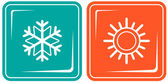 Icons with snowflake and sun - climate symbol — Stock Vector