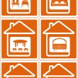 Set house icon with furniture — Imagens vectoriais em stock