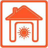Sun in home - heating in house symbol — Stock Vector