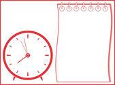 Arka plan ile saat ve not defteri — Stok Vektör
