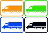 Set colorful heavy trucks — Stock Vector
