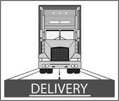Big heavy truck on road — Stock Vector