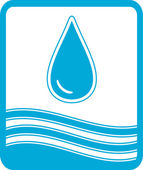 Symbol with water drop and wave — Stock Vector