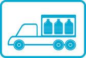 Caminhão com garrafas de plástico — Vetor de Stock