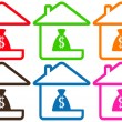 Set houses with money bag — Stock Vector