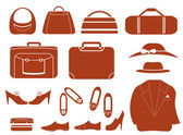 Set objects - clothes, bags and shoes — Stock Vector
