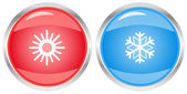 Button with snowflake and sun — Stock Vector