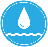 Water icon with drop and wave — Stock Vector
