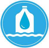 Bottle with drop and wave - drinking water symbol — Stock Vector