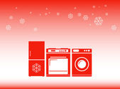 Winter background - discounts on home appliances symbol — Stock Vector