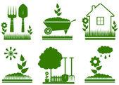 Geïsoleerde tuin landschapsarchitectuur symbolen — Stockvector