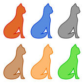 Set isolated cat silhouette — Stock Vector