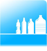 Water background with set plastic bottles — Stock Vector