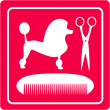 Grooming icon with poodle dog, scissors and comb — Image vectorielle