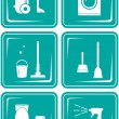 Set icons with objects for cleaning — Stock Vector