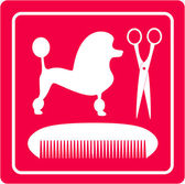 Grooming icon with poodle dog, scissors and comb — Stock Vector
