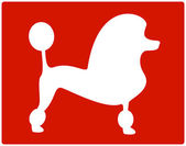 Red dog poodle icon — Stock Vector