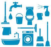Freigestellte objekte für die reinigung von zu hause aus arbeiten — Stockvektor