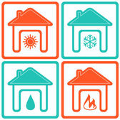 Set house icons with water drop, sun, snowflake and fire — Stock Vector