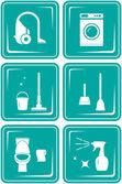 Set icone con oggetti per la pulizia — Vettoriale Stock