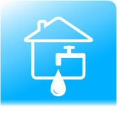 Tap spigot with drop and house on water background — Stock Vector