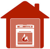 Icon with gas stove in home — Stock Vector