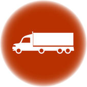 Delivery sign - brown round icon with american truck — Stock Vector