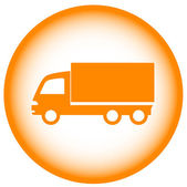 Gold icon with truck — Stock Vector