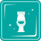 Blue icon with shiny white toilet — Vecteur