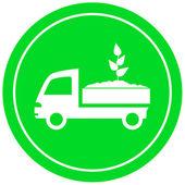 Camion avec sol et pousse — Vecteur