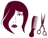 Beauty woman face with comb and scissors — Stock Vector