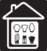Set bulb in home — Stock Vector