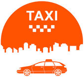 Taxi icon with city — Stock Vector