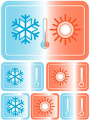 Weather icons with sun, snowflake and thermometer — Stock Vector